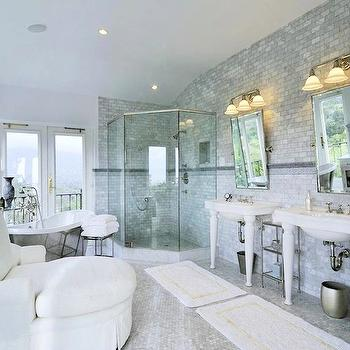 bathrooms - silver, gray, walls, corner, glass, shower, white, chaise, lounge, white, bath, mats, white, carrara, marble, hex, tiles, floor, marble, subway tiles, backsplash, marble, Greek key, accent, inset tiles, rectangular, pivot, mirrors, French doors, bath mats, white bath mats, his and her bath mats, Waterworks Belle Epoque Vitreous China Two Leg Single Console, Waterworks Candide Freestanding Oval Cast Iron Bathtub,