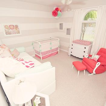 Striped Nursery, Contemporary, nursery, Sally Jensen Interiors