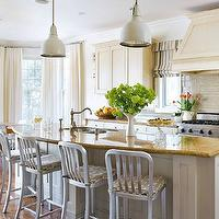 Brandon Barre Photography - kitchens - bay windows, farmhouse dining table, white, industrial, pendants, ivory, kitchen cabinets, kitchen island, granite, countertops, gray, glass, subway tiles, backsplash, striped, roman shades, 1006 Navy Stool, Eames Molded Plastic Stacking Side Chair,