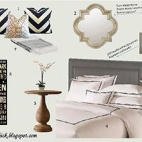 http://freckleschick.blogspot.com/ - bedrooms - Benjamin Moore - Grey Owl - hotel bedding, chevron pillows, navy &amp; white, blue-grey,  My GBR