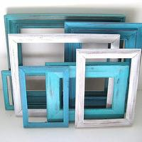 Art/Wall Decor - Turquoise Aqua White Picture Frames Gallery of by GreenFoxStudio - white, turquoise, distressed, picture, frames