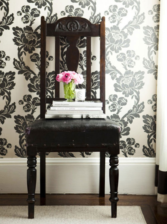 dens/libraries/offices - white drapes black velvet banding ivory black floral wallpaper antique chair black velvet cushion  Ivory & black floral