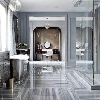 Brandon Barre Photography - bathrooms - blue, walls, gray, silk, drapes, seamless glass shower, marble, tiles, floor, espresso, vanity, vanity nook, arched nook, arched vanity nook, Waterworks Engine Turned Pewter Oval Waste Can, Waterworks Candide Freestanding Oval Cast Iron Bathtub,
