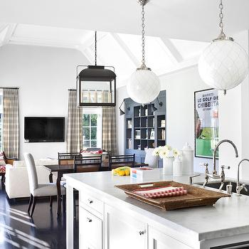 Burnham Design - kitchens - gray, walls, white, kitchen cabinets, marble, tops, vaulted ceiling, TV, blue, built-in, bookcase, open plan kitchen, open floor plan kitchen,