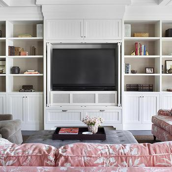 Burnham Design - living rooms - coffered ceiling, white, built-ins, media center, beadboard, doors, TV, built-in, TV, nook, back, shelves, lined, taupe, grasscloth, wallpaper, mink, velvet, chairs, gray, leather, tufted, ottoman, sofas, upholstered, pink, Chinoiserie, toile, fabric, built-in cabinets, built-ins, living room built-ins, white built-ins, white built-in cabinets, built-in bookcase, living room bookcase, fireplace built-ins, built-in media center, built-in media cabinet, built-in tv cabinet, built-in tv center, built-in entertainment center, floor to ceiling built-ins, floor to ceiling built-in cabinets, built ins, tv built ins, tv built in cabinets, tv storage,