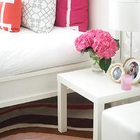 Caitlin Wilson Design - bedrooms - pillow, white, bed, fuchsia, orange, pillows, Greek key, trim, white, parsons, table, parsons end table, parsons table, white parsons end table, white parsons table,