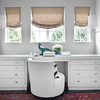 Burnham Design - dens/libraries/offices - cool, gray, walls, white, built-in, desk, burlap, roman shades, white, swivel, chair, polished nickel, sconces, teal, blue, peacock, built in desk, built in desks, white built-in desk,