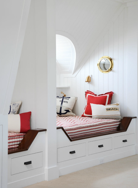 Caccoma Interiors - boy's rooms - nautical, beadboard, walls, built-in, daybeds, striped, cushions, red, pillows, brass, porthole, mirror, porthole mirror, gold porthole mirror,