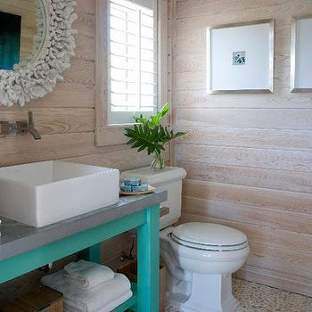 Caccoma Interiors - bathrooms - oak, paneled, walls, white, coral, mirror, turquoise, blue, bathroom vanity, concrete, top, pebble, floor, coral mirror, white coral mirror, round coral mirror,