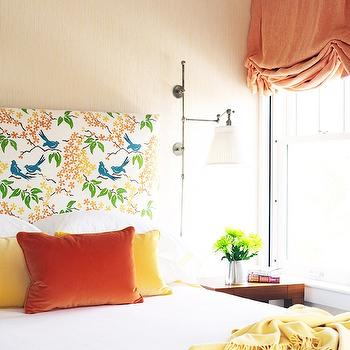 Caccoma Interiors - bedrooms - tan, grasscloth, wallpaper, orange, blue, birds, fabric, headboard, orange, yellow, pillows, yellow, throw, orange, roman shade, orange roman shade, orange valance,