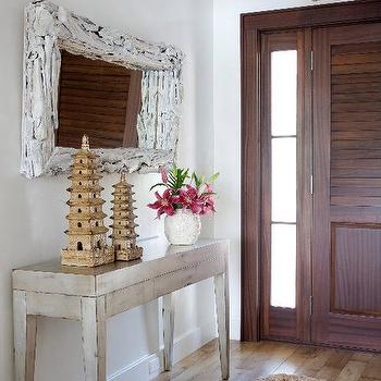 Caccoma Interiors - entrances/foyers - white, washed, crocheted, rug, white, washed, driftwood, mirror, pagoda, lantern, driftwood mirror, rectangular driftwood mirror, white driftwood mirror, white washed mirror, white washed driftwood mirror,
