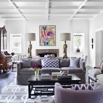 Burnham Design - living rooms - pillows, purple, slipcover, velvet, sofa, chair, gray, chairs, plum, pillows, glossy, black, Asian, coffee table, Chinese, Ancestors, figurine, lamps, purple sofa, purple velvet sofa, purple sofas, gray sofa, velvet sofa, gray velvet sofa,