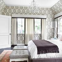 Burnham Design - bedrooms - white, pagoda, Chinoiserie, chandelier, white, valance, box, white, drapes, platinum, gray, silk, trim, plum, velvet, bed, pink, damask, lumbar, pillow, glossy, white, lacquer, ottomans, gray, tufted, cushions, eggplant, cashmere, throw, pagoda chandelier, white pagoda chandelier, chinoiserie chandelier, white chinoiserie chandelier, Katie Ridder Leaf Wallpaper Gray,