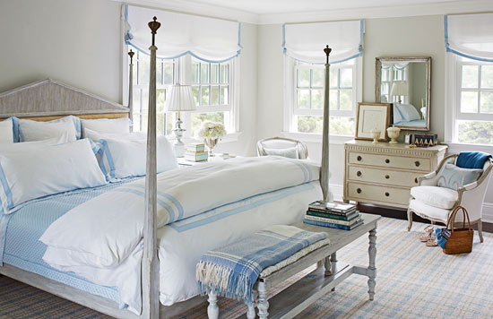 Traditional Home - bedrooms - Benjamin Moore - Morning Dew - Dulcamara by Cottimaryanne Bedding, tan, walls, gray washed, bed, gray, antique, bench, white, roman shades, blue, ribbon, trim, gray washed bed, poster bed, gray poster bed, gray washed poster bed, gray washed bench, gray bench,