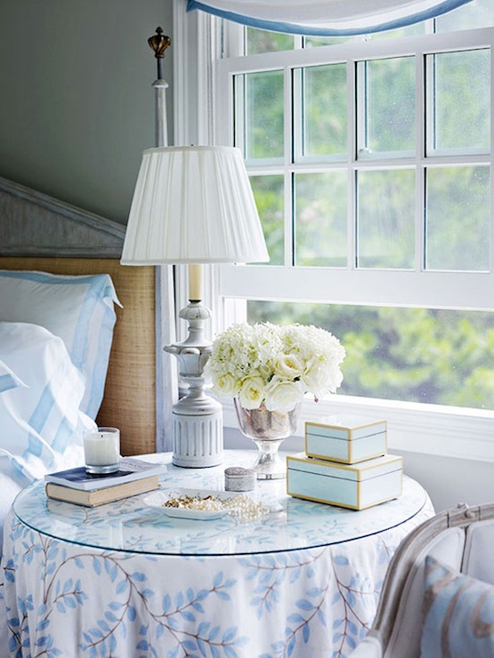 Traditional Home - bedrooms - Benjamin Moore - Morning Dew - Mecox Garden Bone Box, gray washed, bed, tan, walls, round, skirted, table, nightstand,