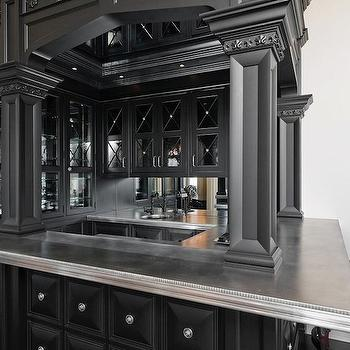 Pricey Pads - basements - wet bar, wet bar design, black wet bar design, basement wet barf, basement wet bar design, black cabinets, black wet bar cabinets, zinc countertops, zinc wet bar countertop, mirror backsplash, mirrored backsplash,