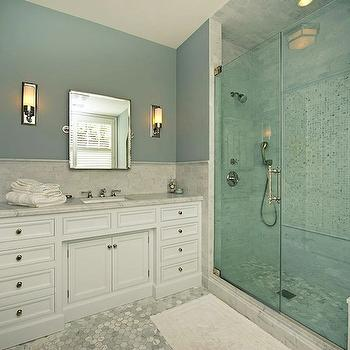 Walk In Shower Design, Transitional, bathroom, Pricey Pads