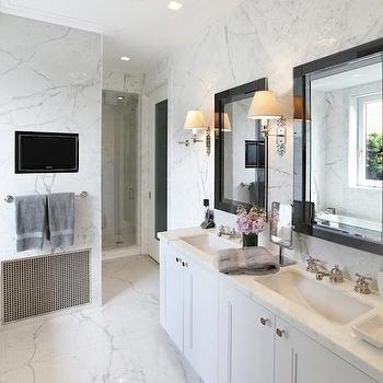 Pricey Pads - bathrooms: marble, slab, walls, white, double bathroom vanity, marble, countertop, glossy, black, lacquer, mirrors, built-in, TV, nook, marble, tiles, floor, tv niche, tv nook bathroom tv, bathroom tv niche, bathroom tv nook, tv niche bathroom, tv nook bathroom,