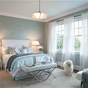 Patricia Fisher Design - bedrooms - blue, ceiling, blue, Venetian, plaster, walls, white, headboard, blue, trim, white, nightstands, blue, shams, duvet, polished nickel, x, bench, blue, cushion, square, glass, lamps, white and blue bedroom,