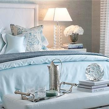 Patricia Fisher Design - bedrooms - blue, venetian, plaster, walls, white, headboard, blue, trim, sky blue, duvet, shams, polished nickel, x, bench, blue, cushion, square, glass, lamp, blue and gray bedding, gray blanket, sky blue bedding,