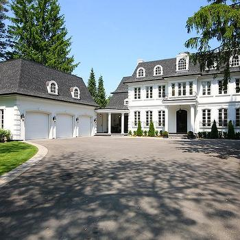 Pricey Pads - home exteriors - white and gray home exterior, gray shingles, colonial home, white and gray colonial home, juliet balcony, 3 car garage, 3 car garage design,