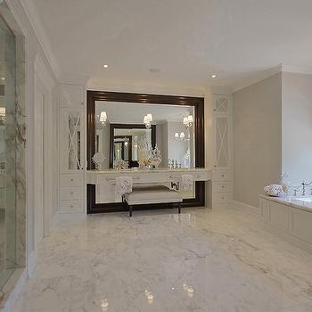 Pricey Pads - bathrooms - bench, glossy, wood, espresso, floor, mirror, white, built-in, vanity, seamless glass shower, marble, tiles, floor, wood paneled, drop-in, tub, floating vanity, floating make up vanity, floating bathroom vanity,