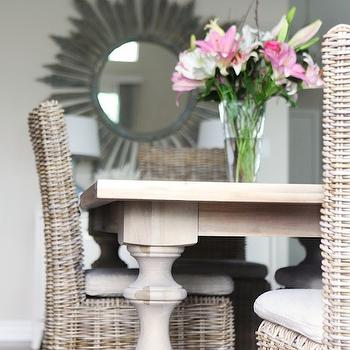 Jana Bek Design - dining rooms - driftwood mirror, round driftwood mirror, gray driftwood mirror, pine dining table, balustrade legs, dining table with balustrade legs, wicker dining chairs,
