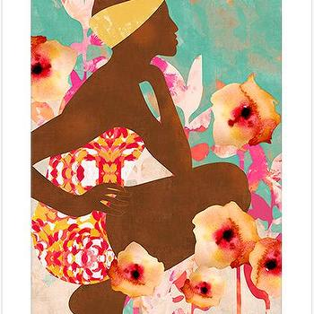Poolside, Modern Colorful Art Print