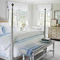 Traditional Home - bedrooms - tan, walls, gray washed, bed, gray, antique, bench, white, roman shades, blue, ribbon, trim, Dulcamara by Cottimaryanne Bedding,