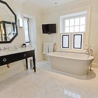 Pricey Pads - bathrooms - glossy, black, elegant, bathroom vanity, marble, top, black, octagon, mirror, white, roman shades, black, ribbon, trim, freestanding, tub, TV, marble, tiles, floor, octagon mirrors, octagon mirror, black octagon mirror, black octagonal mirror,