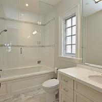 Pricey Pads - bathrooms - seamless glass shower, door, subway tiles, shower surround, marble, tiles, floor, off-white, bathroom vanity, marble, top, subway tile shower, subway tile shower surround, subway tile bathroom,