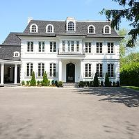 Pricey Pads - home exteriors - white, stone, exterior, gray, shingles, Juliet, balcony, 3 car, garage,  Amazing white stone home exteriors with