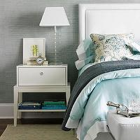 Patricia Fisher Design - bedrooms - blue, Venetian, plaster, walls, glass, stacked, lamp, white, nightstand, white, headboard, blue, trim, sky blue, duvet, shams, upholstered headboard, white upholstered headboard, white headboard with nailhead trim, nailhead trim headboard, Bungalow 5 Piedmont 1 Drawer Side Table in White,