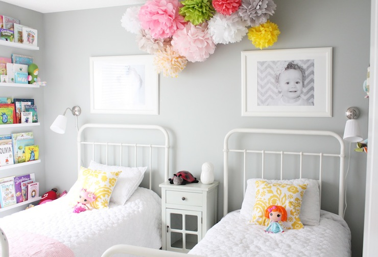 Daffodil Design - girl's rooms - General Paint - Dishwater - Restoration Hardware Baby & Child Millbrook Iron Bed, Ikea Ribba Picture Ledge, gray, walls, pom poms, ikea picture ledge, picture ledge, ribba picture ledge, restoration hardware baby & child beds,