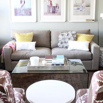Daffodil Design - living rooms - gray, walls, gray, modern, sofa, Suzani, slipper, chairs, white, accent, chair, gray and purple living room, Dwell Studio Gate Citrine Pillow, Urban Barn Thilde Coffee Table, Suzani Fahri Grape Fabric, kea Odby Frame,
