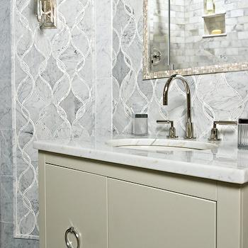 Bianco Carrara Marble Mosaic Tile, Contemporary, bathroom, Artistic Tile
