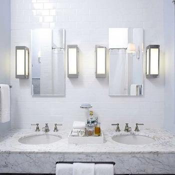 Artistic Tile - bathrooms - blue, walls, floating, marble, vanity, white, Greek key, pattern, towels, floating vanity, marble vanity, floating marble vanity, floating double vanity, marble double vanity, floating marble double vanity,