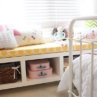 Daffodil Design - girl's rooms - yellow, cushion, Homesense, pink, suitcases, green, chevron, pillow, Restoration Hardware Baby & Child Millbrook Iron Bed,