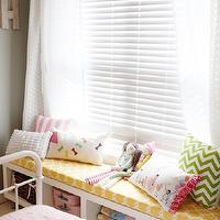 Daffodil Design - girl's rooms - General Paint - Dishwater - yellow, cushion, green, chevron, pillow, white, sheers, gray, walls,  Adorable girls'