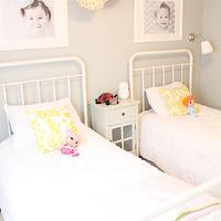 Daffodil Design - girl's rooms - gray, walls, pom poms, yellow, damask, pillows, restoration hardware baby and child beds, Restoration Hardware Baby & Child Millbrook Iron Bed,