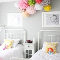 Daffodil Design - girl's rooms - gray, walls, pom poms, ikea picture ledge, picture ledge, ribba picture ledge, restoration hardware baby & child beds, Restoration Hardware Baby & Child Millbrook Iron Bed, Ikea Ribba Picture Ledge,