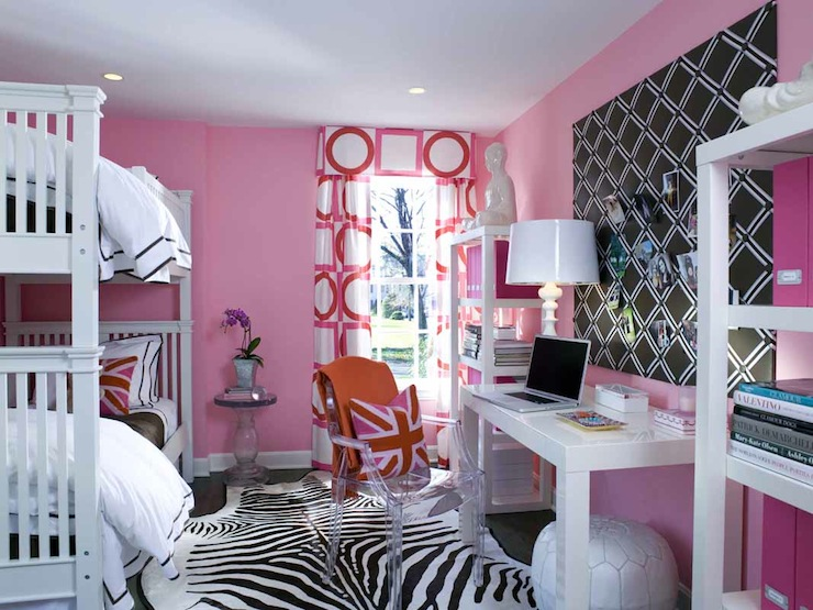Pink geometric curtains contemporary girl s room sam allen