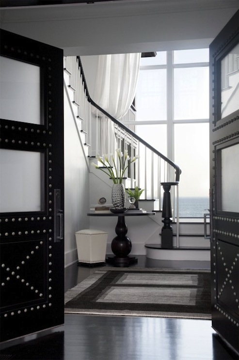 LDa Architects - entrances/foyers - studded, solid, mahogany, doors, frosted, glass, panels, gray, black, modern, rug, black doors, studded black doors, frosted glass doors,