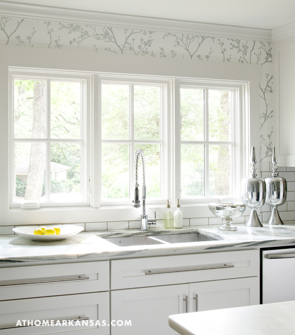Vermont marble transitional kitchen at home in arkansas for Kitchen cabinets vermont