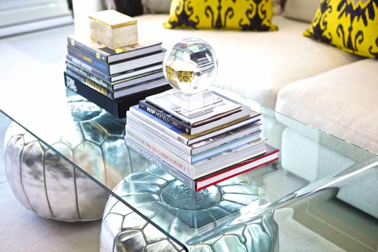 Suzie: Sam Allen Interiors - CB2 Peekaboo Clear Coffee Table, silver metallic poufs, white ...