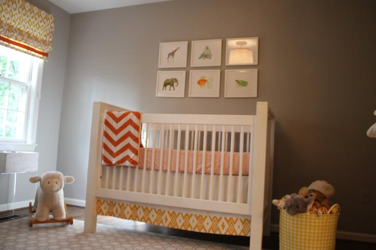 Jenny Castle Design - nurseries - Benjamin Moore - Cumulus Cloud - geometric rug, ikat, chevron, taupe paint, taupe paint colors, taupe paint color, taupe walls, taupe color paint, taupe nursery walls, chevron throw,