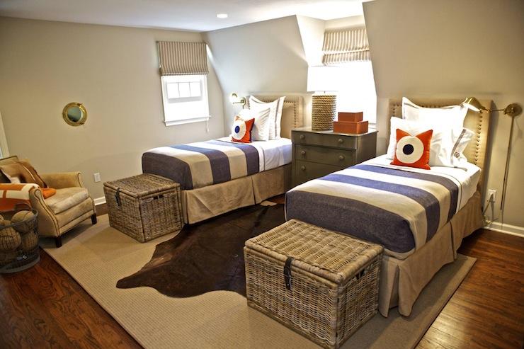 Gray And Orange Boys Room Cottage Boy S Room Sam
