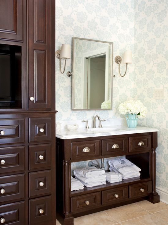 Chocolate Brown Cabinets Traditional Bathroom Tobi