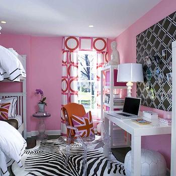 Sam Allen Interiors - girl's rooms: hot pink, walls, white, hotel, duvet, shams, brown, stitching, zebra, cowhide, rug, valance, drapes, pink geometric drapes, pink geometric curtains, geometric curtains, geometric drapes,