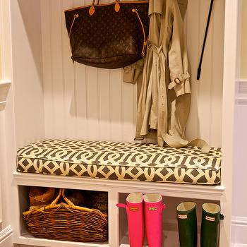 Sam Allen Interiors - laundry/mud rooms - white, built-ins, beadboard, backsplash, pink, green, galoshes, sisal, rug, mudroom, mudroom design, mudroom storage, mudroom bench, mudroom cubbies, mudroom pin boards, mudroom cork boards, mudroom hooks, mudroom beadboard, beadboard in mudrooms, mudroom beadboard bench, Kelly Wearstler Imperial Trellis Fabric Parchment/Midnight, Louis Vuitton Neverfull MM,